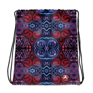 CAVIS Celtic Heart Drawstring Bag - Red and Blue Pattern