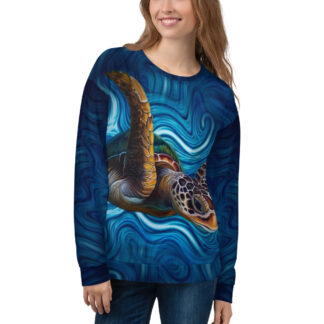 CAVIS Sea Turtle Sweatshirt - Underwater Art - Front