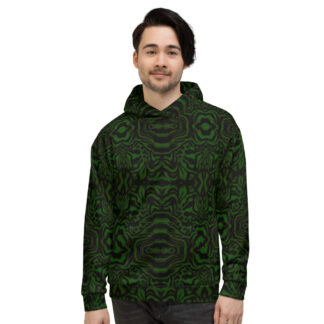 CAVIS Wonderpus Pull Over Hoodie - Green Black Octopus Pattern Hooded Sweatshirt - Front