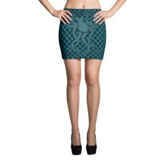CAVIS Checkered Camouflage Octopus Mini Skirt - Retro 80's Pattern - Front