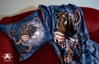 CAVIS Steampunk Octopus Blanket and Pillow 2