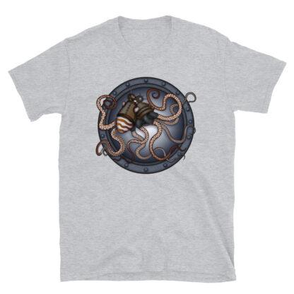 CAVIS Steampunk Octopus T-Shirt - Light Gray
