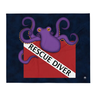 CAVIS Dive Flag Purple Octopus Soft Throw Blanket - Rescue Diver