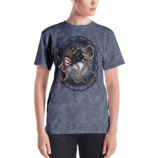 CAVIS Steampunk Octopus V-Neck T-Shirt - Women's - Model - Front
