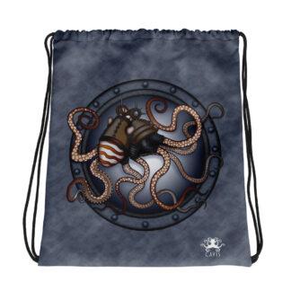 CAVIS Steampunk Octopus Drawstring Bag - Gray