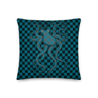 CAVIS Checkered Camo Octopus Pillow - Front