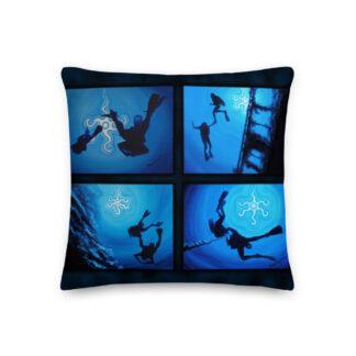 CAVIS Scuba Diver Silhouette Pillow - Front