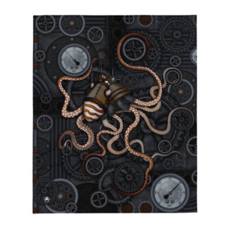 CAVIS Steampunk Octopus Gears Throw Blanket - Open