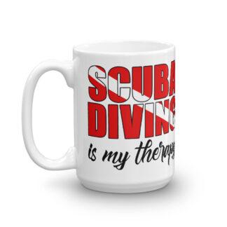CAVIS Scuba Diver Mug - Scuba Diving is My Therapy 15 oz. - Left