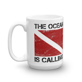 CAVIS Dive Flag Mug -15 oz. - The Ocean is Calling - Left