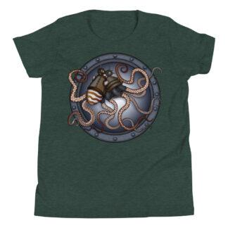 CAVIS Steampunk Octopus Youth T-Shirt - Dark Green Short Sleeve Shirt