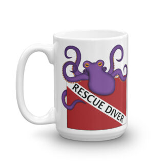 CAVIS Purple Octopus Scuba Dive Flag Mug, Rescue Diver Coffee Cup - 15 oz. - Left