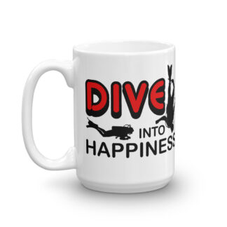 CAVIS Scuba Diver Mug - Dive Into Happiness - 15 oz. - Left