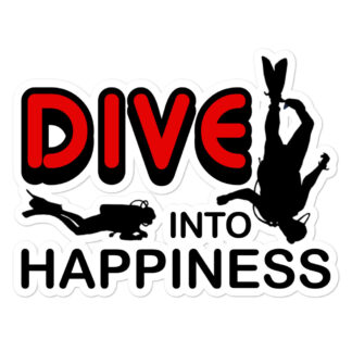 CAVIS Scuba Diver Silhouette Sticker, Scuba Dive Into Happiness Vinyl Decal - 5.5 inch