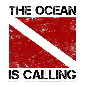 CAVIS Scuba Dive Flag Sticker, The Ocean is Calling Vinyl Decal - 5.5 inch