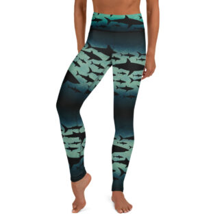 CAVIS Shark Pattern Heigh Waist Leggings - Women's Dive Skin - Front