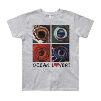 CAVIS Aquatic Eyes Youth T-Shirt - Ocean Lover - American Apparel Brand - Gray