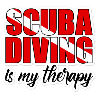 CAVIS Scuba Dive Flag Sticker, Scuba Diving is My Therapy Vinyl Decal - 5.5 inch