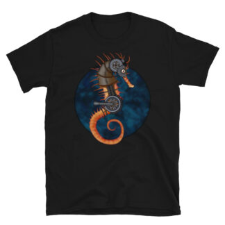 CAVIS Steampunk Seahorse T-Shirt - Black