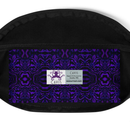 CAVIS Wunderpus Pattern Fanny Pack - Purple Black Alternative Sea Life Waist Bag - Inside Pocket
