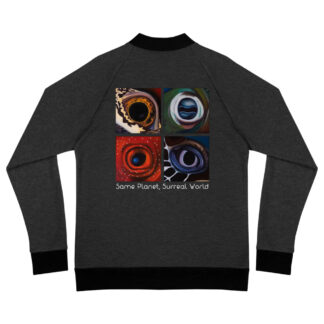 CAVIS Aquatic Eyes Surreal World Bomber Jacket - Heather Black - Back