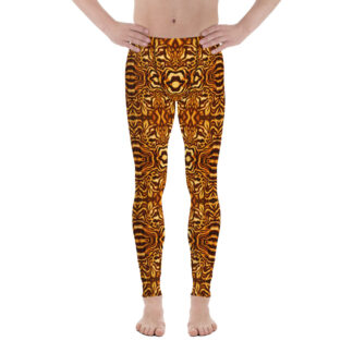 CAVIS Wunderpus Men's Leggings - Yellow Orange Octopus Pattern Dive Skin - Yoga Pants - Front