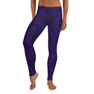 CAVIS Wunderpus Pattern Leggings, Athletic Fashion Alternative Purple and Black Tights - Front
