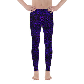 CAVIS Wunderpus Men's Leggings - Purple Black Octopus Pattern Dive Skin - Yoga Pants - Front