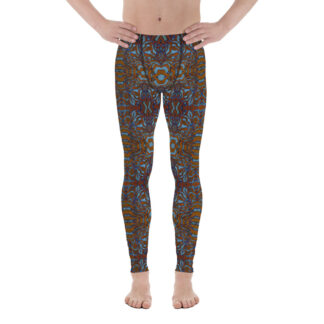 CAVIS Wunderpus Men's Leggings - Orange Blue Octopus Pattern Dive Skin - Yoga Pants - Front