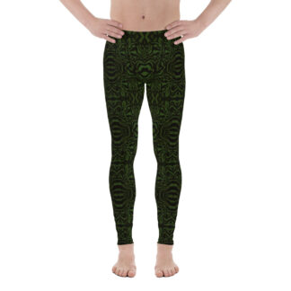 CAVIS Wunderpus Men's Leggings - Green Black Octopus Pattern Dive Skin - Yoga Pants - Front