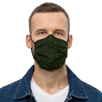 CAVIS Wunderous Pattern Premium Cloth Face Mask - Green Black - Front