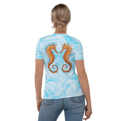 CAVIS Seahorse Pair on Light Blue Background - Women's T-Shirt, Soft Vibrant Quick-Dry Sea Life Shirt - Back