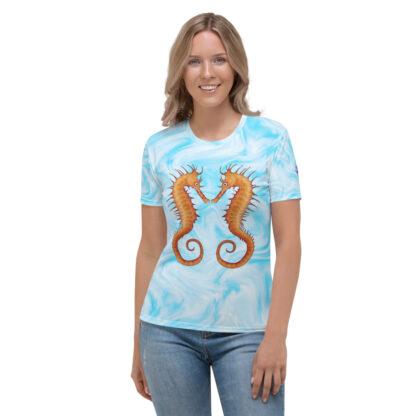 CAVIS Seahorse Pair on Light Blue Background - Women's T-Shirt, Soft Vibrant Quick-Dry Sea Life Shirt - Front