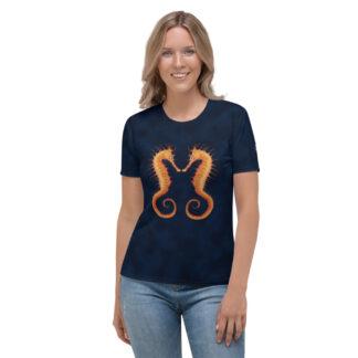 CAVIS Seahorse Pair Women's T-Shirt, Soft Vibrant Quick-Dry Sea Life Shirt - Front